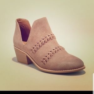 Tan Braided Ankle Boots